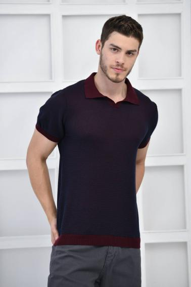 Bordo Erkek Polo Yaka Triko Örgü Slim Fit T-Shirt F93076