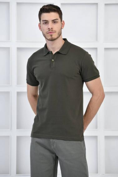 Haki Erkek Düz Pike Polo Yaka Likralı Slim Basıc T-Shirt F51610