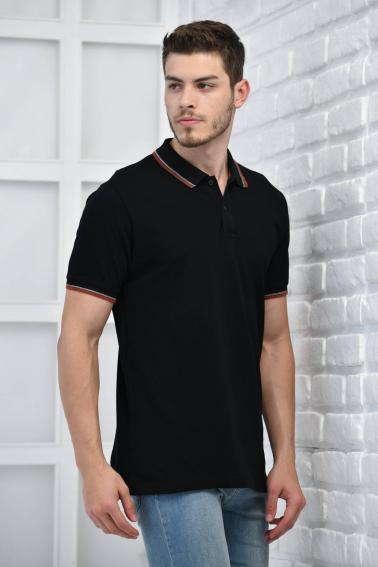 Siyah Erkek Polo Yaka Modern Kesim Pike Kumaş T-Shirt F5421