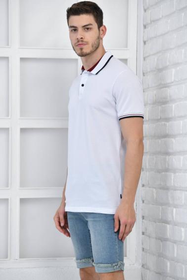 Beyaz Erkek Polo Yaka Modern Kesim Pike Kumaş T-Shirt F5429