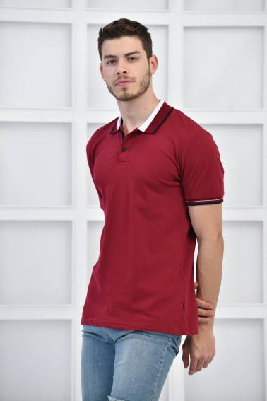 Bordo Erkek Polo Yaka Modern Kesim Pike Kumaş T-Shirt F5429