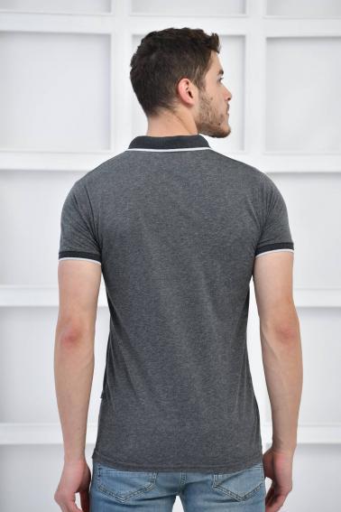 Siyah Erkek Düz Pike Polo Yaka Likralı Slim Fit Nakışlı T-Shirt F51606