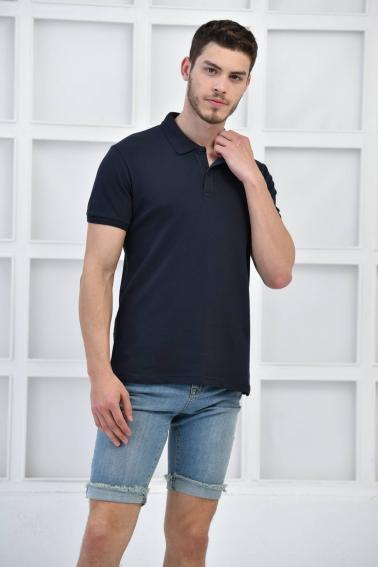 Lacivert Erkek Düz Pike Polo Yaka Likralı Slim Basıc T-Shirt F51610
