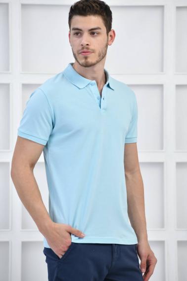 Mavi Erkek Düz Pike Polo Yaka Likralı Slim Basıc T-Shirt F51610