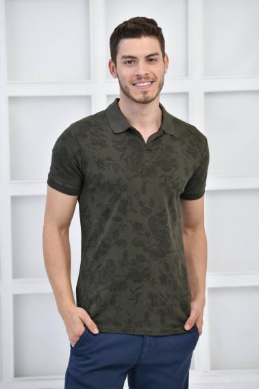 Haki Erkek Desenli Pike Polo Yaka Slim Fit T-Shirt F51603