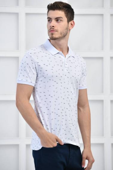 Beyaz Erkek Desenli Pike Polo Yaka Likralı Slim Basıc T-Shirt F51614