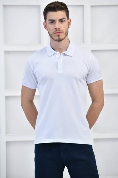 Beyaz Erkek Düz Pike Polo Yaka Likralı Slim Basıc T-Shirt F51610