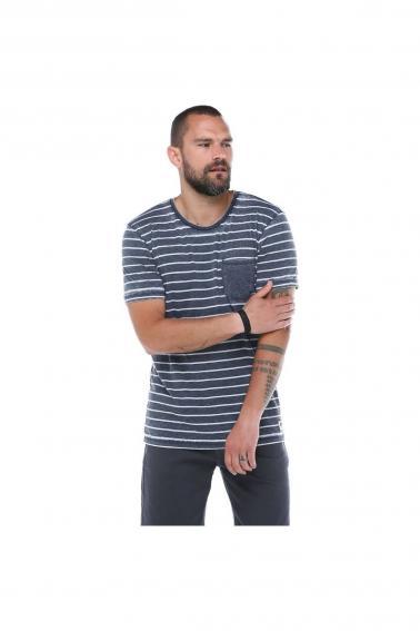 Erkek Haki Cepli Bisiklet Yaka Çizgili Slim Fit Kısa Kollu T-Shirt F023