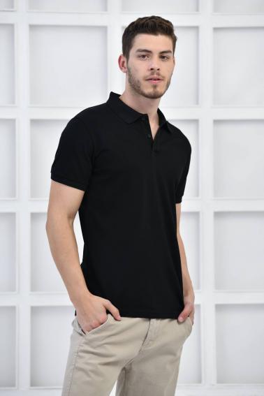 Siyah Erkek Düz Pike Polo Yaka Likralı Slim Basıc T-Shirt F51610