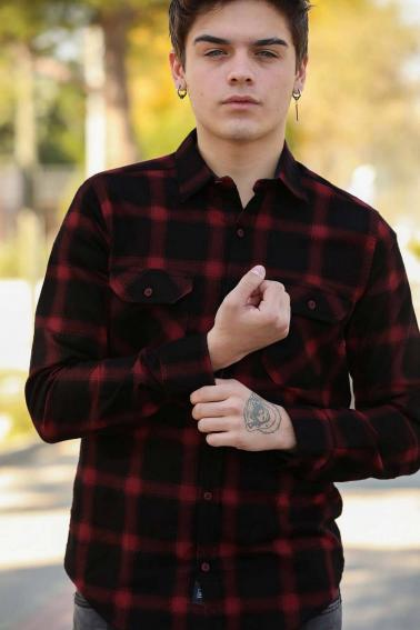 Erkek Bordo Çift Cep Düğmeli Ekoseli Oduncu Gömlek F5247
