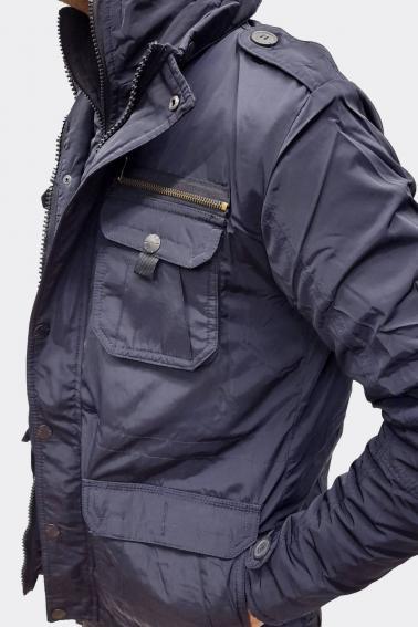 Erkek Lacivert Su Ve Soğuk Geçirmez Çift Ön Kapama Elyaf Mont F6024