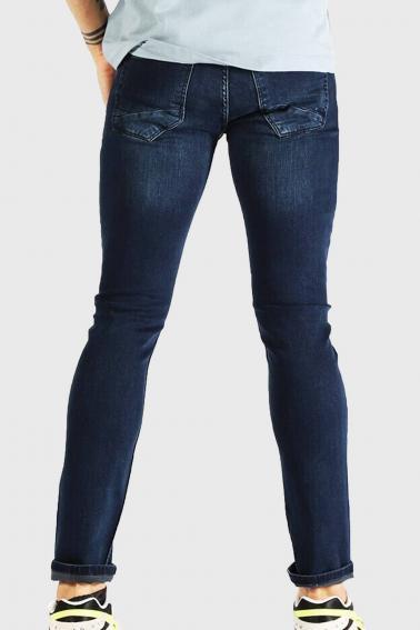 Erkek Blue Koyu Mavi Kot Blood Super Skinny Düz Jean Pantolon 7465