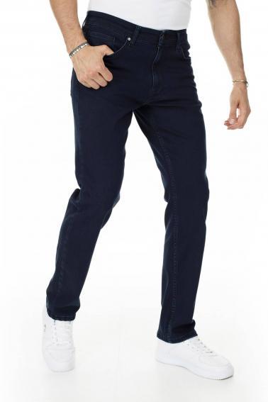 Erkek Lacivert Battal Boy Jeans Modern Kesim Fermuarlı Kot Pantolon BL7465-523
