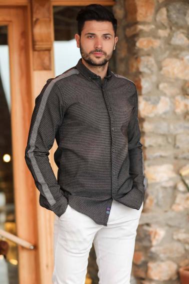 Erkek Siyah Denim Kol Şerit Detaylı Düğmeli Gömlek F6165