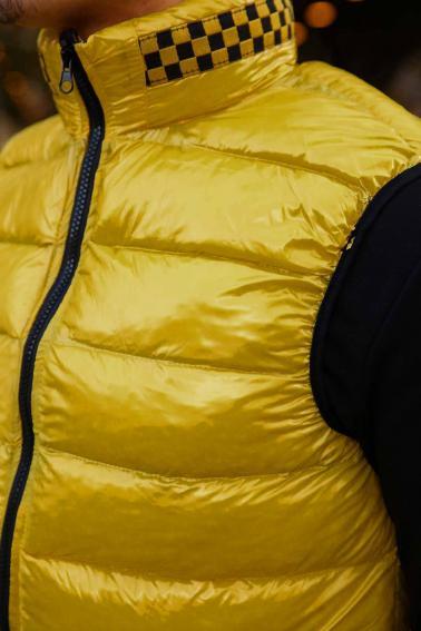 Erkek Sarı Parlak Şişme Yelek Yaka Garni Detaylı F91013
