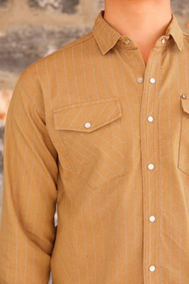 Erkek Hardal Çift Cep Çizgili Sedef Düğmeli Gabardin Gömlek F6194