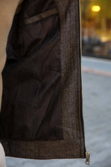 Erkek Kahverengi Fermuarlı Balıksırtı Kaşe Mont F8027