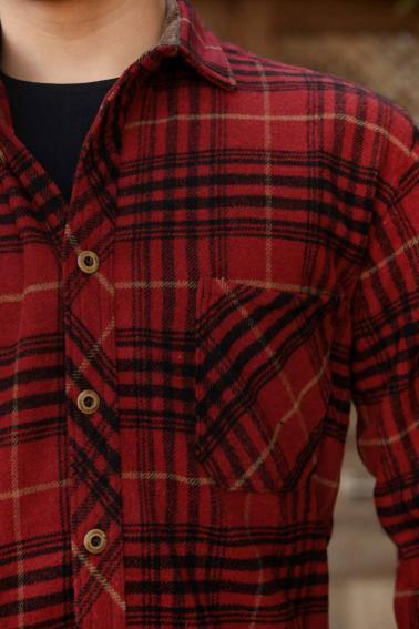 Erkek Kırmızı Ekoseli Tek Cep Mont Tipi Oduncu Gömlek F6205
