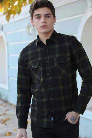 Erkek Haki Çift Cep Düğmeli Ekoseli Oduncu Gömlek F5247