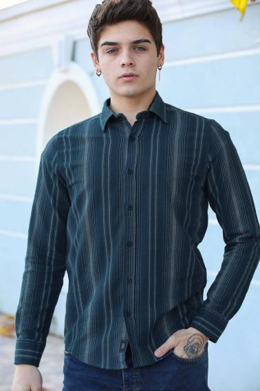 Erkek İndigo Çizgili Düğmeli Gabardin Gömlek F5246