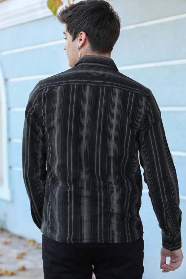 Erkek Siyah Çizgili Düğmeli Gabardin Gömlek F5246