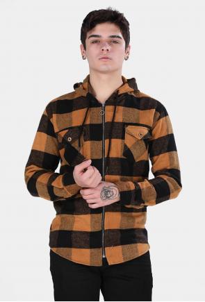 Erkek Hardal Ekoseli Kapüşonlu Fermuarlı Mont Tipi Oduncu Gömlek F6202