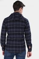 Erkek İndigo Ekoseli Kapüşonlu Fermuarlı Mont Tipi Oduncu Gömlek F6202