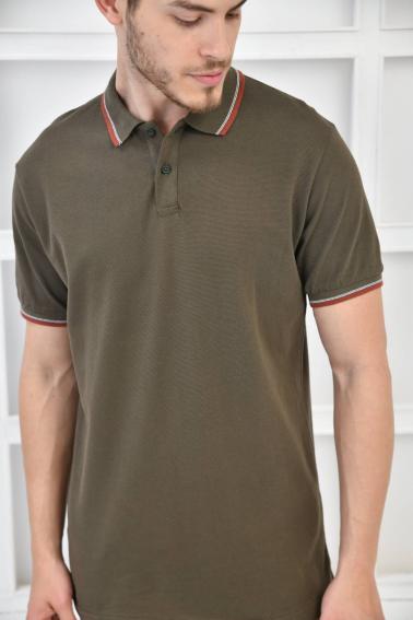 Haki Erkek Polo Yaka Modern Kesim Pike Kumaş T-Shirt F5421