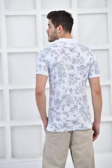 Beyaz Erkek Desenli Pike Polo Yaka Slim Fit T-Shirt F51603