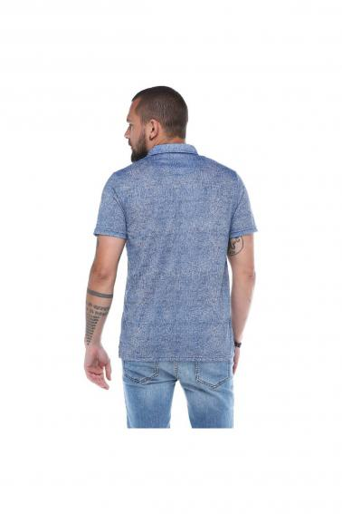 Erkek İndigo Polo Yaka Desenli Modern Kesim Polyester T-Shirt F5211