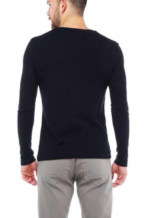 Erkek Siyah Slim Fit  Bisiklet Yaka Penye Uzun Kol T-Shirt