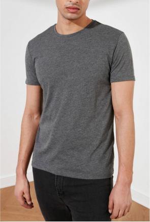 Antrasit Erkek Basic Pamuklu Bisiklet Yaka Slim Fit T-Shirt F51624