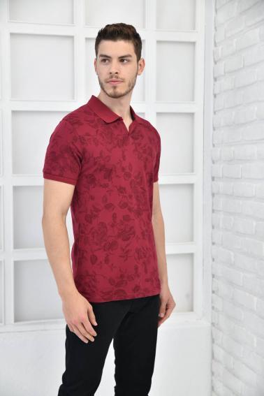 Bordo Erkek Desenli Pike Polo Yaka Slim Fit T-Shirt F51603