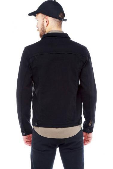 Erkek Siyah Slim Fit Düğmeli Kot Ceket
