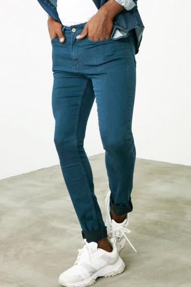 Erkek Petrol Jean Slim Fit Dar Kesim Likralı Kot Pantolon JP7465