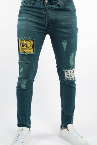 Erkek Dark Berk Jean Slim Fit Dar Kesim Yıpratmalı Kot Pantolon F81006