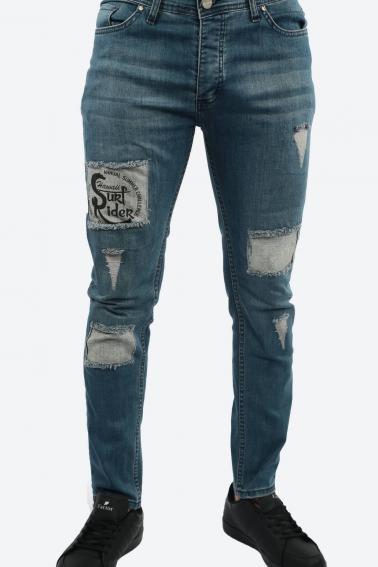 Erkek Deep Berk Jean Slim Fit Dar Kesim Yıpratmalı Kot Pantolon F81006