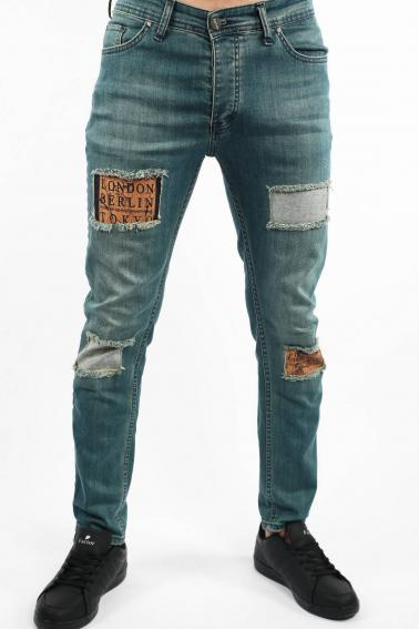 Erkek Navy Berk Jean Slim Fit Dar Kesim Yıpratmalı Kot Pantolon F81006