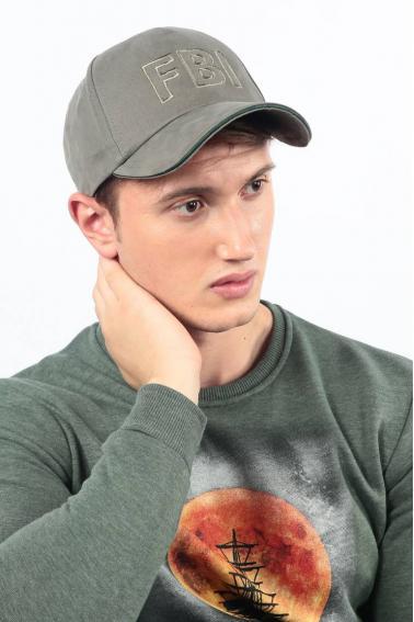 Erkek Haki FBI Nakışlı Şapka Ş8305