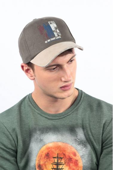 Erkek Haki FBI Baskılı Şapka Ş8318