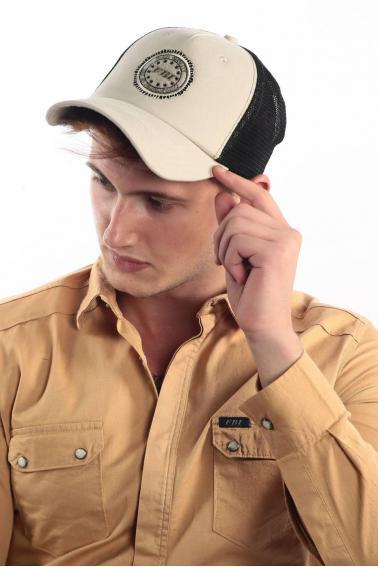 Erkek Bej FBI Nakışlı Şapka Ş8307