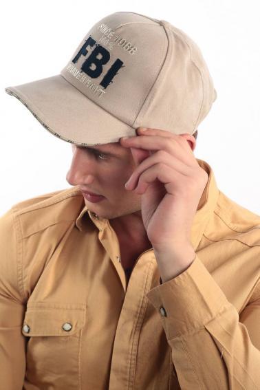 Erkek Bej FBI Nakışlı Şapka Ş8315