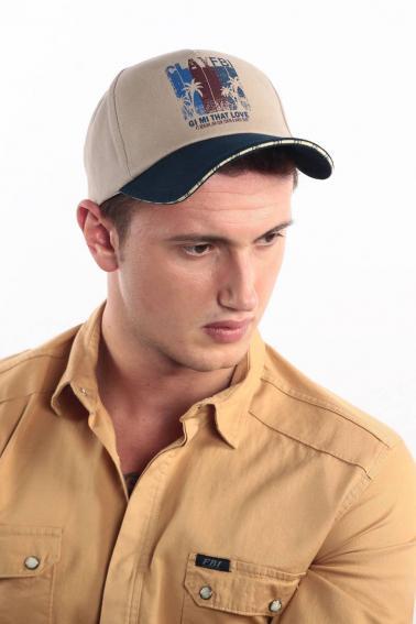 Erkek Bej FBI Baskılı Şapka Ş8318