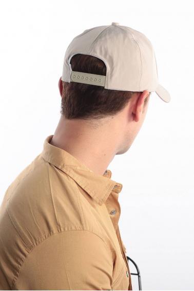 Erkek Bej FBI Reflektör Baskılı Şapka Ş8313