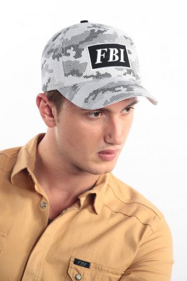 Erkek Beyaz Kamuflaj FBI Nakışlı Şapka Ş8309