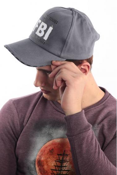 Erkek Gri FBI Nakışlı Şapka Ş8315