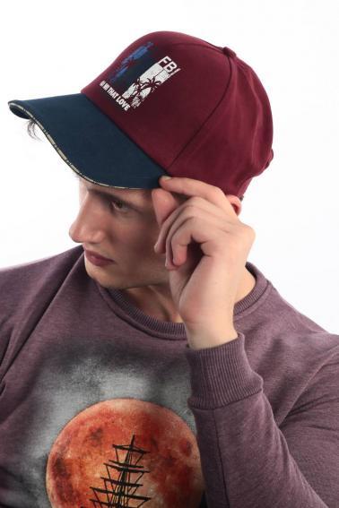 Erkek Kırmızı FBI Baskılı Şapka Ş8318