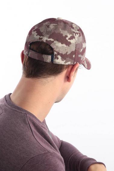 Erkek Bordo Kamuflaj FBI Nakışlı Şapka Ş8309