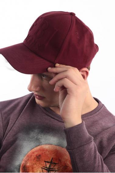 Erkek Bordo FBI Kabartma Baskılı Şapka Ş8316