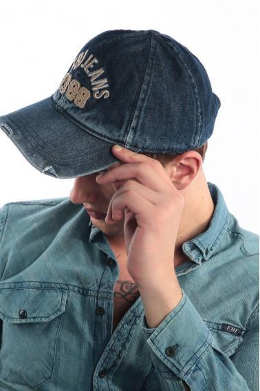 Erkek Denim Navy FBI Nakışlı Kot Şapka Ş8311